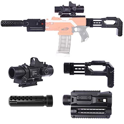 OviTop 4er Upgrade Zubehör Set für Nerf Einen Zielfernrohr + Entstörung + Gewehrkolben + Guide Rail Adapter für Nerf Stryfe/Modulus Regulator/Modulus ECS-10 Blaster/Modulus IonFire Blaster