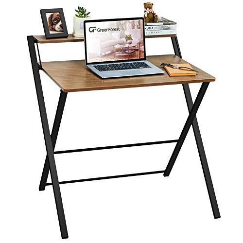 GreenForest Kleiner Klappbarer Schreibtisch , 2 Ebenen Computertisch mit Regal Home Office Kleiner Schreibtisch mit Metallbeinen, keine Montage erforderlich, Nussbaum