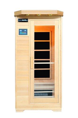 Artsauna Infrarotkabine Trondheim mit Flächenstrahler | 1 Person | Hemlock Holz | 90 x 90 cm | Infrarotsauna Infrarot Wärmekabine Sauna Kabine