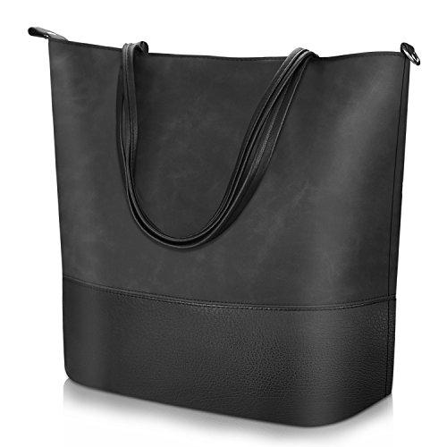 PROKING Damen Umhängetasche Weiches Leder Große Shopper Handtasche Leicht Frauen Reise Satchel