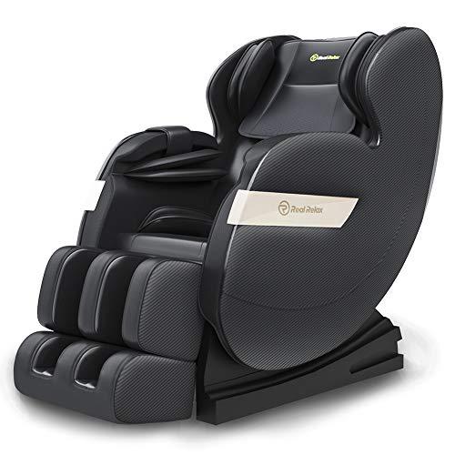 Real Relax 2020 Massagesessel Zero-Gravity für Ganzkörper mit Wärmefunktion, Bluetooth und LED-Licht für zu Hause und im Büro