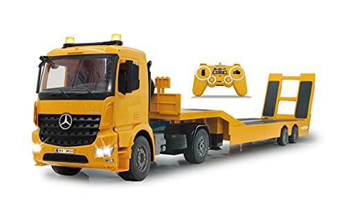 JAMARA 405107 - Tieflader Mercedes Arocs 1:20 2,4GHz - An- und Abkoppeln Tieflader, Tiefladerabstützung + Rampe hoch/runter, Hupe, Rückfahrwarnsound, realistischer Motorsound, 2 Geschwindigkeitsstufen