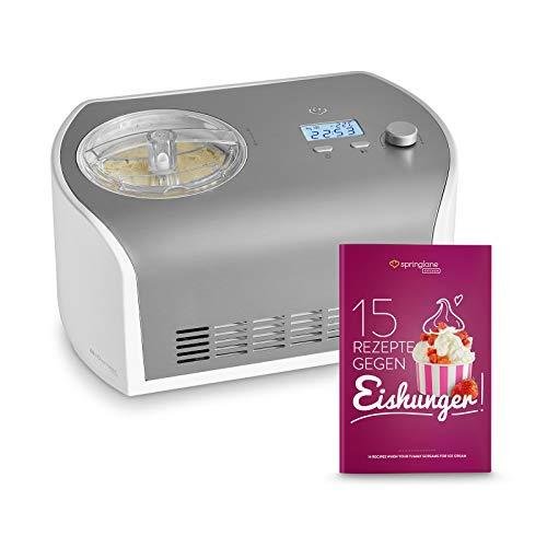Eismaschine Elli 1,2 L mit selbstkühlendem Kompressor 135 W, aus Edelstahl mit entnehmbarem Eisbehälter, inkl. Rezeptheft