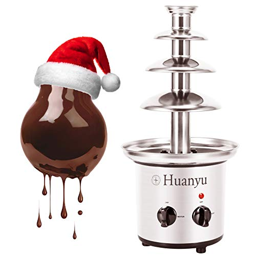Huanyu Schokofondue 4 Ebenen Edelstahl Schokobrunnen 50~60°C Warmhalte Schokolade Schmelzmaschine mit 1360 g Schokoladenkapazität für Geburtstag Party Weihnachten, 170W