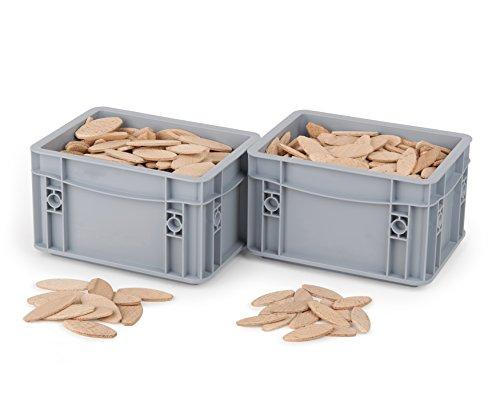 Flachdübel von WFix | Größe 10 & 20 je 200 Stk. | Buchen Dübel in Eurobox | Kompatibel mit Dübelfräse & Lamellofräse | Holzdübel wie Lamello