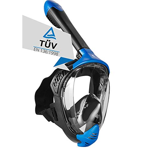 Khroom® TÜV geprüfte CO2 sichere Schnorchelmaske Vollmaske Modell 2021 -Tauchmaske für Erwachsene und Kinder   Vollgesichtsmaske zum Schnorcheln (Matt Blau, L/XL)