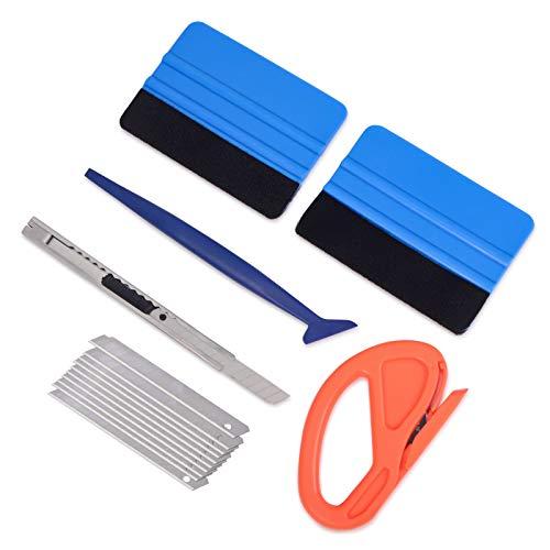 Winjun Auto Vinyl Wraps Set Autofolien Werkzeug mit Micro Rakel Filzrakel Folienrakel Folienschneider 9mm Handwerksmesser mit 10 Stk. Ersatzklingen