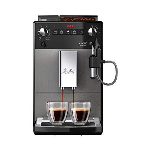 Melitta Avanza F270 - 100 Kaffeevollautomat mit integriertem Milchsystem (abnehmbaren XL Wassertank und Bohnenbehäter sowie flüsterleisem Mahlwerk, 20 cm Breite) mystic titan