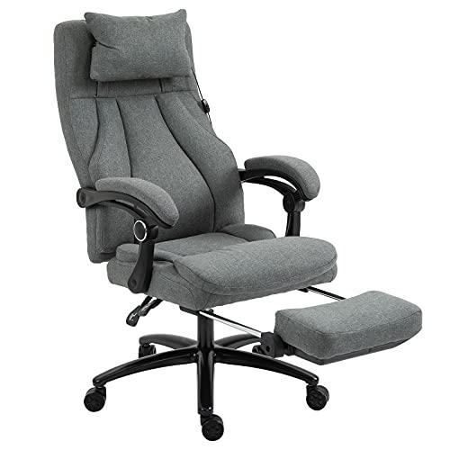 GXK Drehstuhl Massagebürostuhl Drehstuhl mit Fußstütze höhenverstellbar Leinen-Gefühl