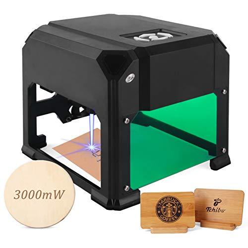 3W Desktop-Lasergravierer mit 3.1 * 3.1 im Arbeitsbereich für Anfänger, Plug-and-Play-Laserschnitzer, super einfach zu bedienen für den Heimgebrauch DIY-Mini-Gravierdrucker Kompatibel mit Windows.