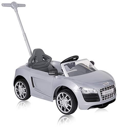 ROLLPLAY 44353 Push Car mit ausziehbarer Fußstütze, Für Kinder ab 1 Jahr, Bis max. 20 kg, Audi R8 Spyder, Silber