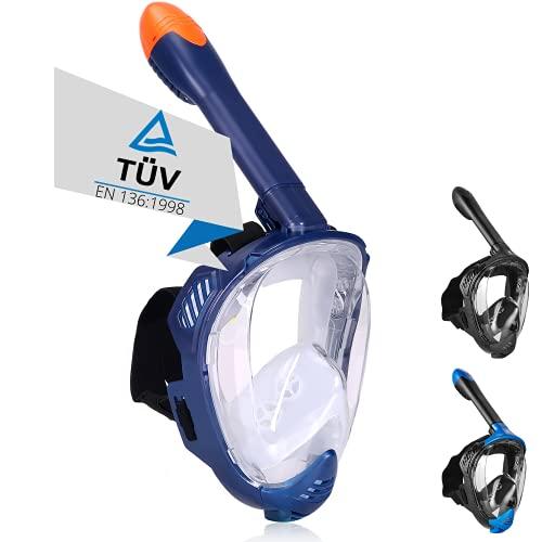 Khroom® TÜV geprüfte CO2 sichere Schnorchelmaske Vollmaske Modell 2021 -Tauchmaske für Erwachsene und Kinder | Vollgesichtsmaske zum Schnorcheln (Matt-Dunkelblau, L-XL)