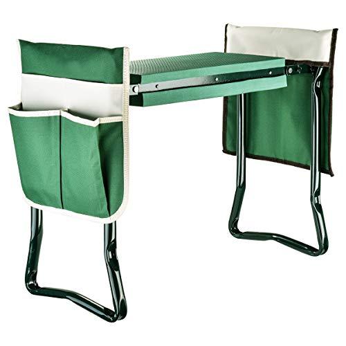 Garten Kniebank Gartenhocker für die Gartenarbeit mit 2 anhängbaren Werkzeugtaschen - Tragbarer Gartenhocker mit EVA-Schaumstoff - stabil, leicht und praktisch - Schützen Sie Knie und Kleidung bei