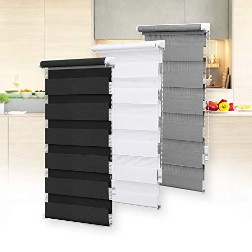 OBdeco Doppelrollo Duo Rollo Klemmfix ohne Bohren B65cm x H150cm(Stoffbreite 61 cm) Grau für Fenster lichtdurchlässig und verdunkelnd
