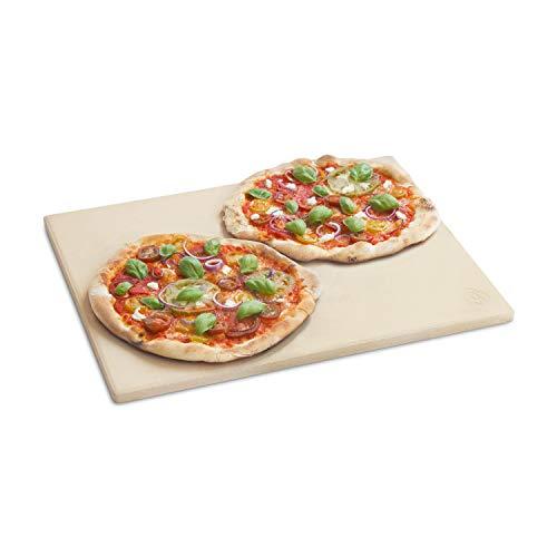 Burnhard Pizzastein für Backofen, Gasgrill & Holzkohlegrill aus Cordierit für Brot, Flammkuchen & Pizza, rechteckig - 45 x 35 x 1.5 cm