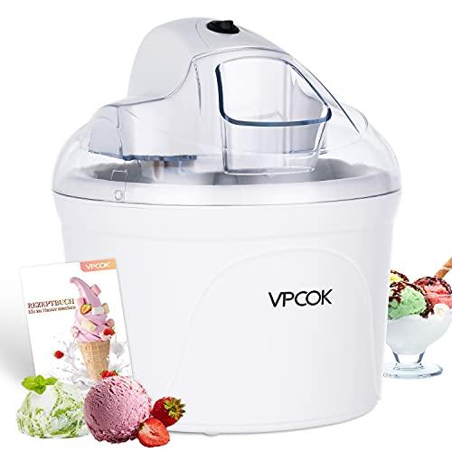 VPCOK Profi Eismaschine, Joghurtbereiter und Eisbereiter für Eiscreme, Gelato und Sorbet, 1,5L, weiß, inkl. Rezept (Mehrweg)