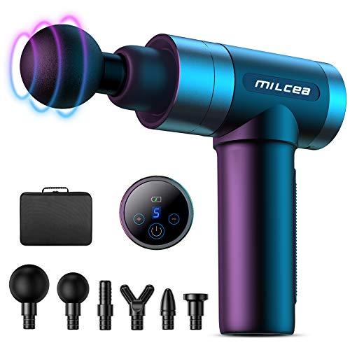 MILcea Massagepistole, Massage Gun,Massagepistole Massagegerät mit 5 Geschwindigkeiten, LED-Anzeige-Touchscreen Massage Gun, Elektrisches Handmassagegerät mit Massageköpfen für Nacken Schulter Rücken