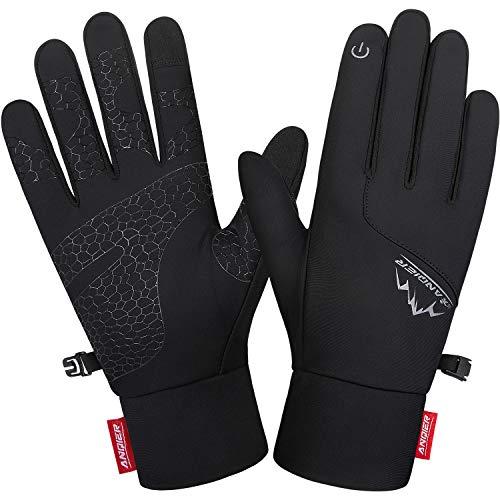Lapulas Handschuhe Herren Damen Winter Touchscreen Handschuhe Leichte Warm rutschfest Winddichte Schwarz Outdoor Laufhandschuhe für Fahrrad Motorrad Laufen Radfahren Wandern (Schwarz, L)