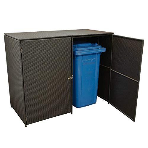 Gartenmoebel Mülltonnenbox für 2 Tonnen klein 66x129x109cm bis 120 Liter, Stahl + Polyrattan Mocca Mülltonnenaufbewahrung
