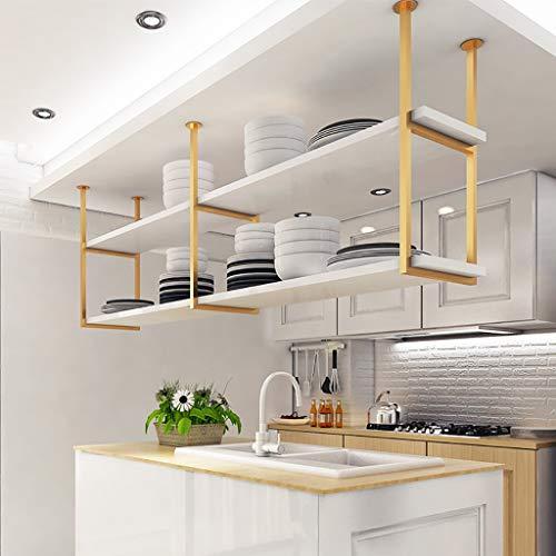 JF-Deckenverzierung 2-stufiges Weißes Massivholz-Trennregal, Einfaches Wohnzimmer-Deckenregal Aus Goldgeschmiedetem Eisen, Aufbewahrungsregal for Hängende Dekoration (Size : 120×30×60cm)