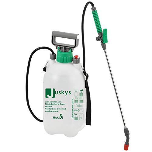 Juskys Drucksprüher DSF5L 5 Liter – Drucksprühgerät mit Überdruckventil & Verstellbarer Düse – Gartenspritze inkl. Tragegurt, Schlauch & Lanze
