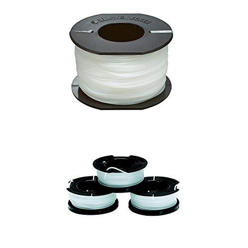 Black+Decker Ersatzfaden Reflex (für Gartentrimmer, 50 m Länge, 1,5 mm Durchmesser) A6171 + Black+Decker A6485 Fadenspulen (für Trimmer 3er Pack- 3 x 10 m Länge, ⌀ 1,5 mm Fadendurchmesser)