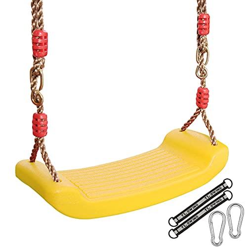 Kunststoff Schaukel,Garten Outdoor Kinderschaukel,rutschfest Schaukelsitz,Brettschaukel für Kinder,mit Höhenverstellbar Seil,Anschnallgurt Belastbar bis 150kg