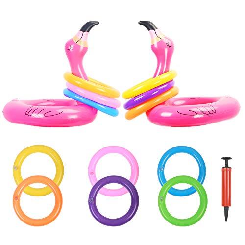 KATOOM 2Set Ringwurfspiel Aufblasbare Flamingo Wurfspiel Outdoor Indoor Spiele Eltern Kinder Partyspiele Partyhüte mit 12 Ringe und 1 Luftpumpe für Camping Flanmingosparty Party Geburtstag Hochzeit