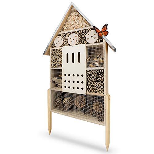 WILDLIFE FRIEND Insektenhotel XL, 76cm mit Standfuß & Metalldach - Unbehandelt, Insektenhaus für Bienen, Marienkäfer & Schmetterlinge, Bienenhotel & Nisthilfe zum Aufhängen oder Aufstellen