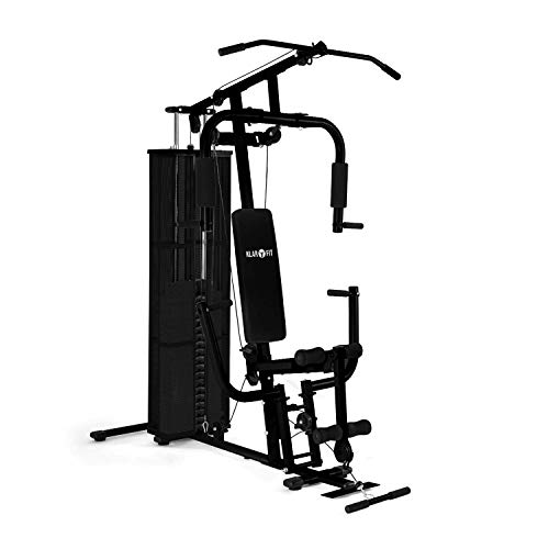Klarfit Ultimate Gym Kraftstation - multifunktionale Fitnessstation, Trainingsstation, Ganzkörpertraining, inkl. Gewichten, 30 unterschiedliche Übungen, schwarz