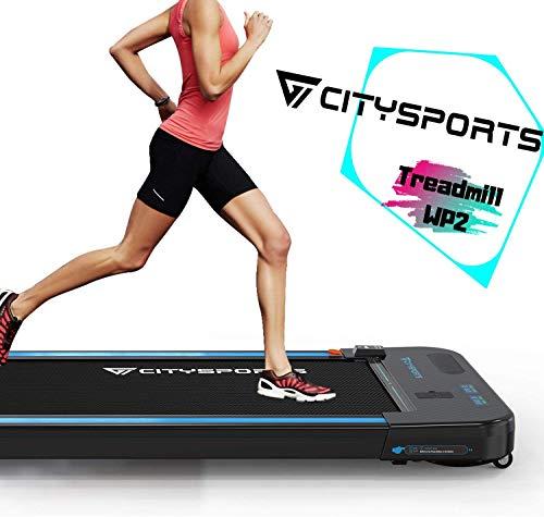 CITYSPORTS Laufband mit 440 W Elektromotor, integrierte Bluetooth-Lautsprecher, einstellbare Geschwindigkeit, LCD-Bildschirm und Kalorienzähler, ultraflach und leise