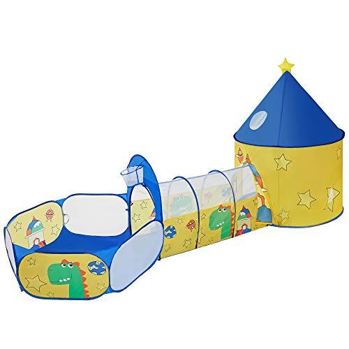 SONGMICS 3-in-1 Spielzelt, Pop-up, mit Tunnel, Bällebad, Basketballkorb, für Kinder, für innen und außen, mit Dinosaurier-Motiv, Geschenkidee, zum Geburtstag, gelb-blau LPT702Y01