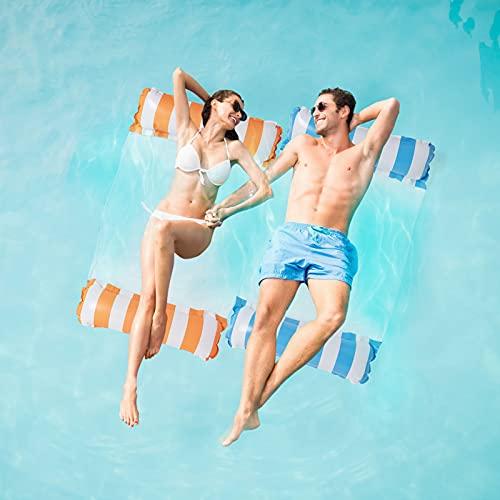 2Stk Luftmatratze Pool, Pool Spielzeug Erwachsene 4 In 1 Aufblasbare Wasserspielzeug Pool Zubehör, Pool Wasserhängematte Wasser Hängematte für Sessel Matratzen Sitz Schwimmmatte, Blau & Orange