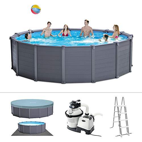 Intex Graphite Gray Panel Pool Set - Panel Wand Aufstellpool - Sehr luxuriös und robust - Ø 478 x 124 cm - Zubehör enthalten