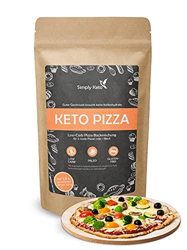 Simply Keto Low Carb & Keto Pizza Backmischung - Für 2x Pizza oder 1x Pizzablech - Nur 2,8g Kohlenhydrate pro 100g - Vegan Protein - Glutenfrei & Kalorienarm - 290g