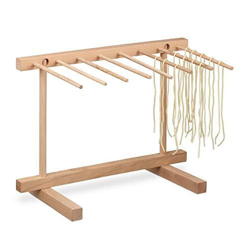 Relaxdays Nudeltrockner Holz, 8 Stangen, Pasta platzsparend trocknen, Nudelständer faltbar, HBT 29,5 x 40 x 28 cm, Natur