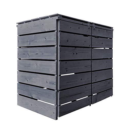 Fairpreis-design Mülltonnenbox Mülltonnenverkleidung 2 Tonnen Holz 120L - 240L anthrazit inkl. Rückwand vorimprägniert vormontiert Müllcontainer Mülltonne Mod.A