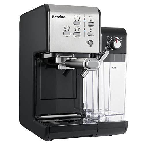 Breville PrimaLatte II Kaffee- und Espressomaschine | italienische Pumpe mit 19 Bar |fr Kaffeepulver oder Pads geeignet | Integrierter automatischer Milchschäumer | Schwarz/Silber | VCF108X-01