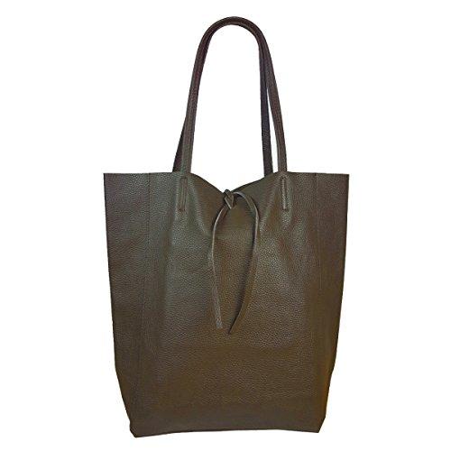 Freyday Damen Echtleder Shopper mit Innentasche in vielen Farben Schultertasche Henkeltasche Metallic look (Schlamm)