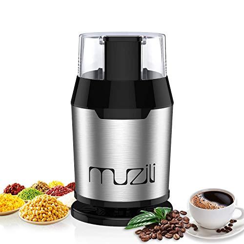 Muzili Elektrische Kaffeemühle, Kaffeemühle Kaffeebohnen Nüsse Gewürze Getreide Mühle, 60 dB Geräuscharm,50ml Fassungsvermögen, mit Reinigungsbürste