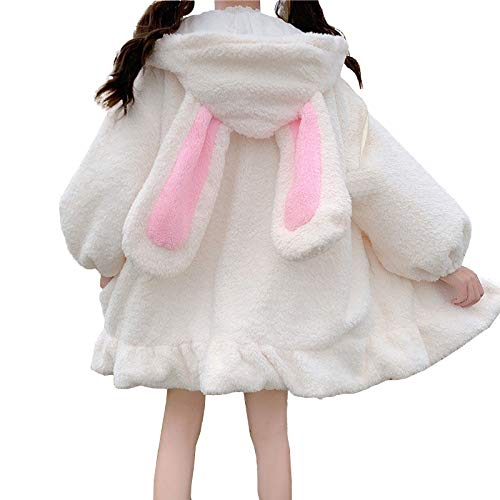YEMOCILE Damen Cute Bunny Ear Langarm Fuzzy Fluffy Rabbit Tops Sweatshirt Hoodie Jacke Mäntel
