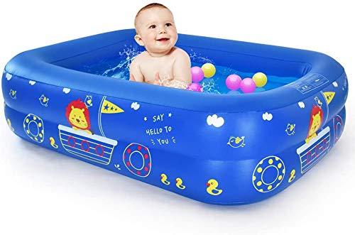 WEY&FLY Familie Pool, Kinderpool für Schwimmen Spielen Schlafen, Kinder Aufstellpool Planschbecken Aufblasbare Pool, Aufblasbare Badewanne, 3-Ring Embossing(115cm, Blau)