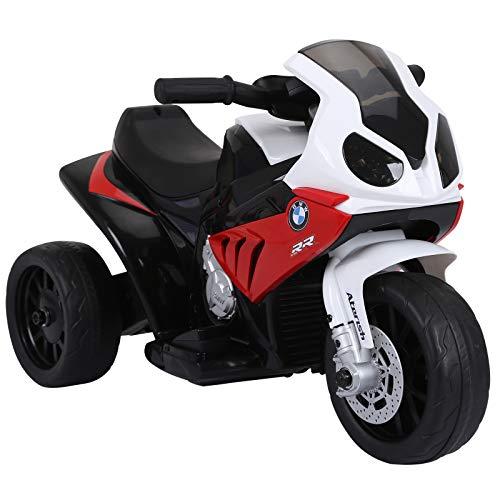 HOMCOM Elektro Kindermotorrad Kinderfahrzeug Elektro-Dreirad mit Akku Rot PP + Stahl Rot 66 x 37 x 44 cm
