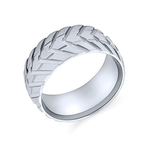 Bling Jewelry Herren Mechaniker Auto Racer Reifen Laufband Ring für Männer für Biker Matt gebürstet Silber Ton Edelstahl 8MM