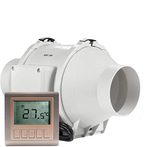 Ventilator 100mm - HG POWER Einstellbarer Abluftventilator mit Drehzahlregler Einschaltverzögerung Temperatur Rohrventilator Leise Kanalventilator Badlüfter Rohrlüfter für Belüftung, Entfeuchtung