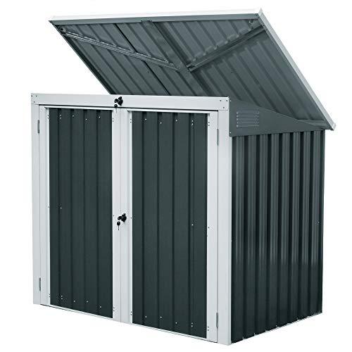 Zelsius Geräteschrank (B) 158 x (T) 101 x (H) 134 cm I Anthrazit I Gartenschrank für den Außenbereich I wetterfest und wasserdicht I Mülltonnenbox für 2 Tonnen