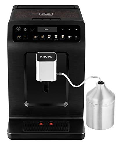 Krups EA8948 Evidence Plus Kaffevollautomat, Neues XL OLED-Farbdisplay, Barista Quattro Force Technologie, 16 Kaffee-Variationen, 3 Tee-Variationen, One-Touch-Cappuccino Funktion schwarz-metallic