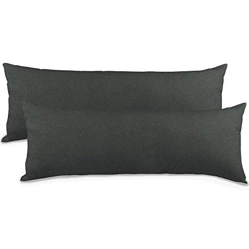 aqua-textil Classic Line Kissenbezug 2er-Set 40 x 145 cm anthrazit grau Baumwolle Seitenschläferkissen Bezug Reißverschluss
