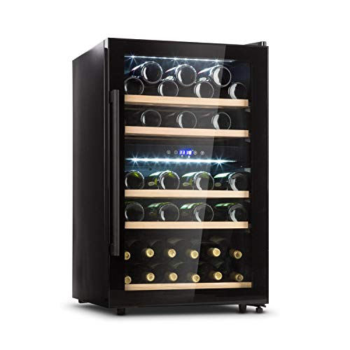 Klarstein Barossa - Weinkühlschrank mit Glastür, Weinkühler, Weintemperierschrank, 5 bis 18°C, wine fridge leise, LED, Touch, Türanschlag beidseitig, Weinschrank für 41 Flaschen, schwarz