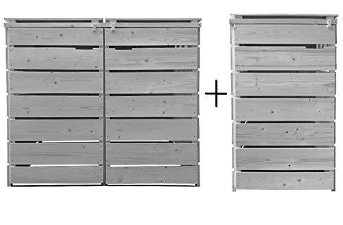 Lukadria Mülltonnenbox Mülltonnenverkleidung Mülltonnecontainer Holz 120L - 240L vorimprägniert in hell-grau mit Rückwand Alster (3 Tonnen)
